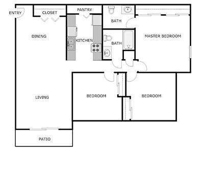 3 bed, 1.5 bath floor plan