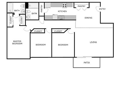 3 bed, 2 bath floor plan